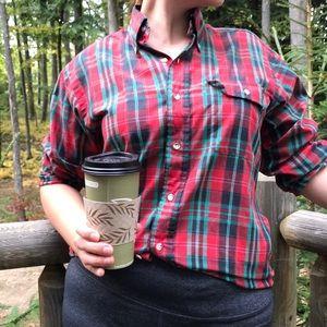 Levi's • tartan plaid fall button down shirt top